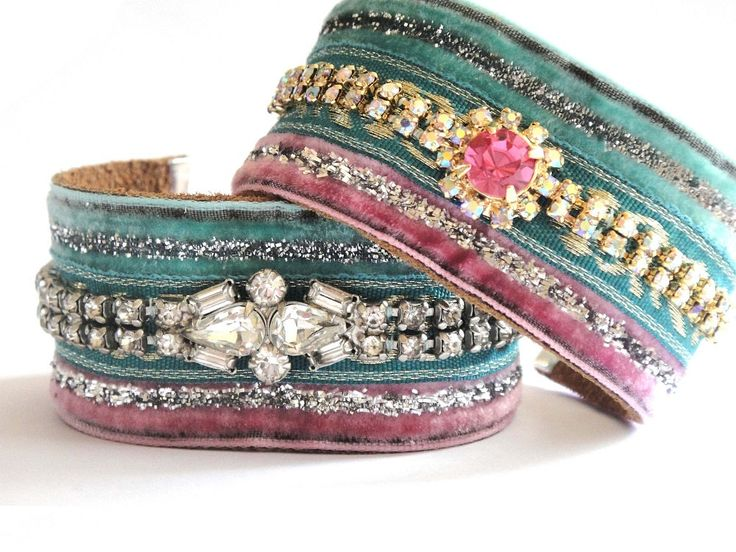 Shabby chic cuff bracelet in pink and mint with a repurposed vintage rhinestone bracelet with aurora borealis chrystals.