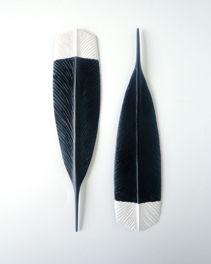 Wall Hanging Wooden Huia Feather Hand Carved From New Zealand Wood