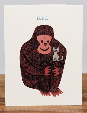 Koko oddball | Red Cap Cards | Illustrated greeting card by Christian Robinson // Koko the gorilla and her sweet little kitten.