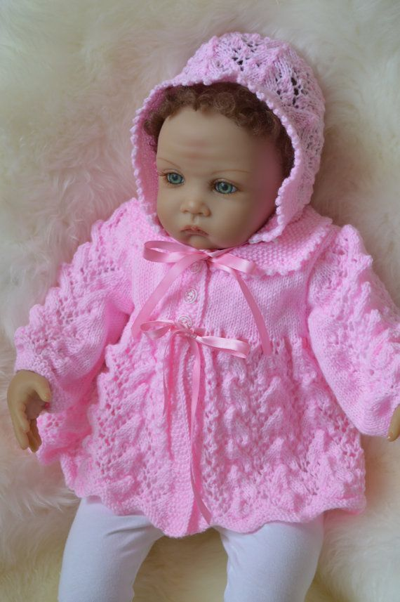 Baby Matinee Coat and Bonnet Set in Pink to by Meganknits4charity