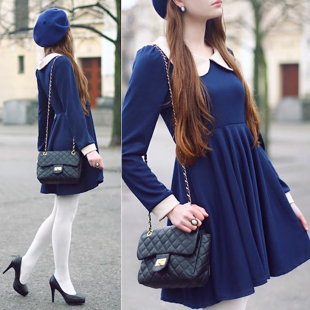 Vestido de inverno + boina estilo francesa é uma ótima combinação