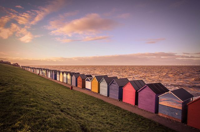 Herne Bay Beach Huts, Kent, South East England These colours are amazing! #mosieandfurl