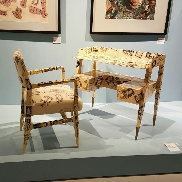 Italian artist 'Piero Fornasetti' exhibition [Business cards, 1950s] writing desk and chair