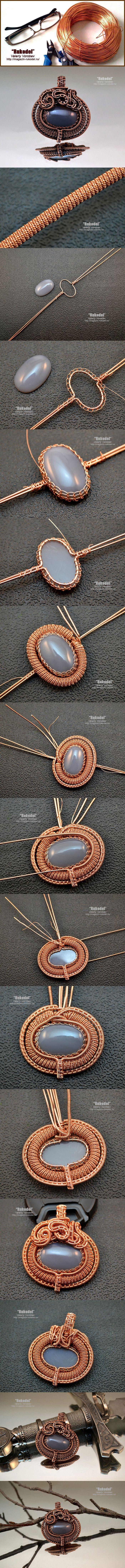 Wire wrap tutorial on Vorobev. Wire Wrap Pendant.  #rukodel, #Vorobev, #handmade, #wirewrap, #wirejewelry, #wirewrapped, #Jewelry, #tutorial, #WireWrapping