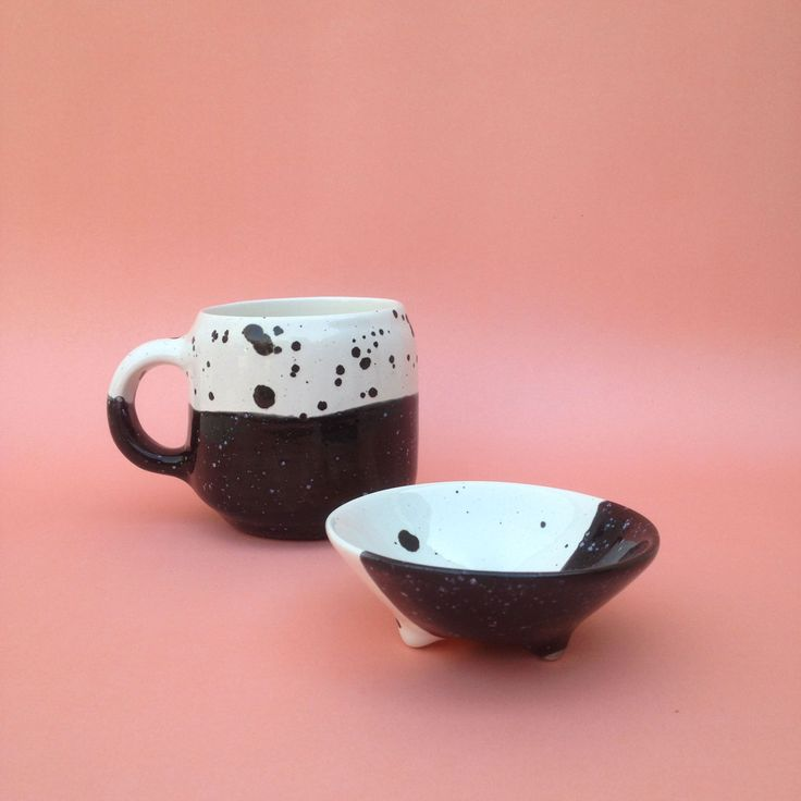 handcrafted ceramic, rustic mug, ring holder with legs,  white and black
