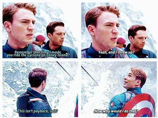 """Haha loved this part """"Now why would I do that"""" I Love Captain America So Much"""