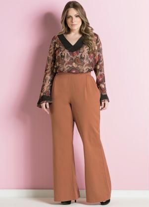 Blusa Mangas Sino (Cashmere) Plus Size