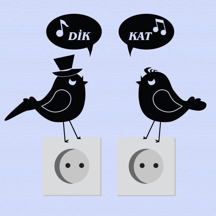 Dikkatli Kuşlar Priz Sticker