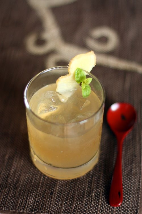 Japanese Yuzu and Ginger Cocktail        6 oz. gin or vodka  juice of 1 yuzu fruit (if you can't find yuzu, you may use lime instead)  2 tablespoons ginger-mint simple syrup (recipe follows)    Combine gin, yuzu juice and simple syrup in a cocktail shaker. Shake shake shake…shake shake shake…shake your booty (I mean shaker.) Pour into a glass filled with ice, garnish with thinly sliced ginger root and mint leaves.
