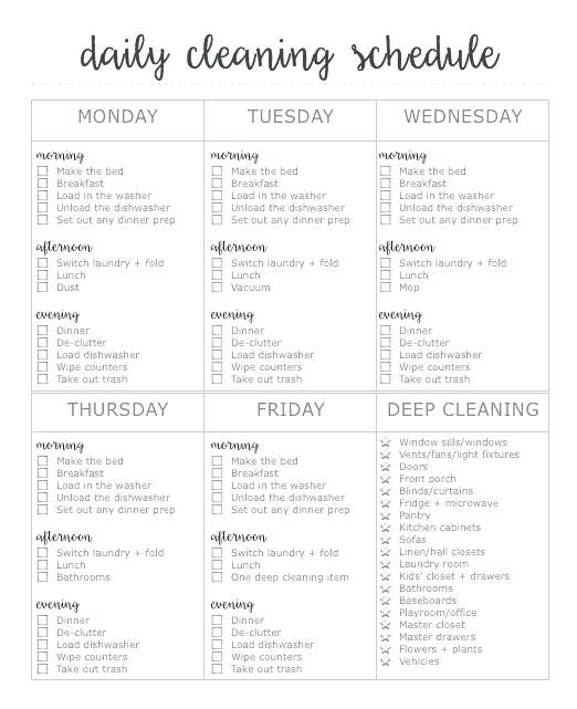 Daily Routine Schedule Template Printable Free 2 Page Cleaning First