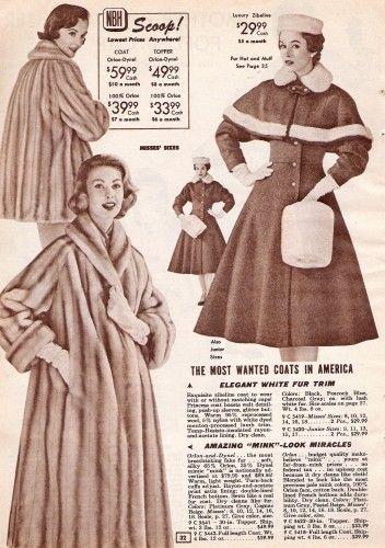 History of 1950s Coats and Jackets: 1957 Faux Fur Coat and Rabbit Fur Trimmed Coat and Barrel Muff