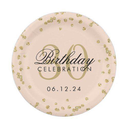 Gold Blush Pink Glitter Confetti 30th Birthday Paper Plate