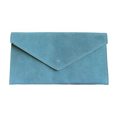 "Lucia Italian Blue Leather Envelope Clutch Bag"" width="