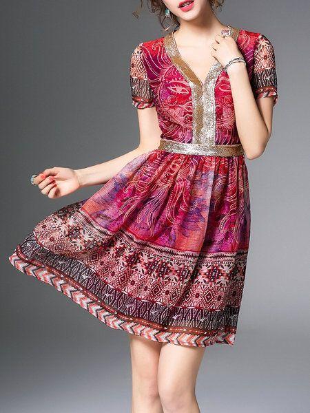 Shop Mini Dresses - Fuchsia V Neck Casual Mini Dress online. Discover unique designers fashion at StyleWe.com.