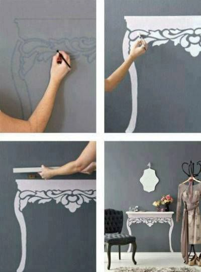 DIY: Painted table, and a shelf......realistic!!!!!