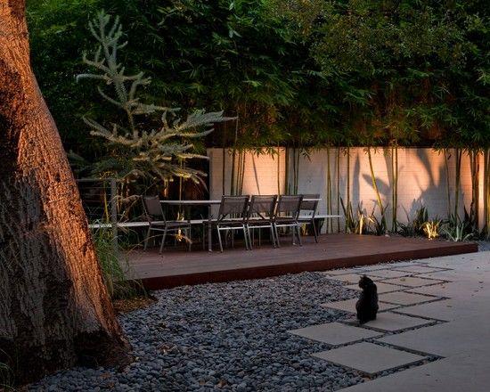 Terrasse Boden anlegen Pflastersteine Kies Betonplatten