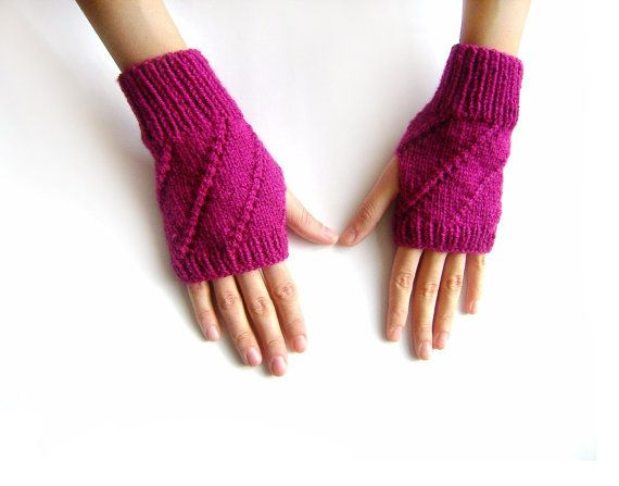Hand Knit Fingerless Gloves in Magenta  Arm by naryaboutique