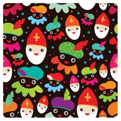 Sinterklaaskaarten - Retro sinterklaas zwarte pieten patroon
