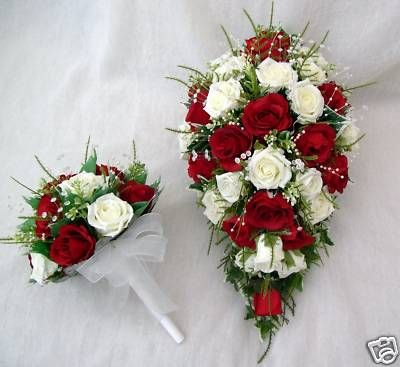 red floral flower for a wedding in red | ... FLOWERS, BRIDES TEARDROP BOUQUET WITH 1 BRIDESMAIDS POSY IN RED AND