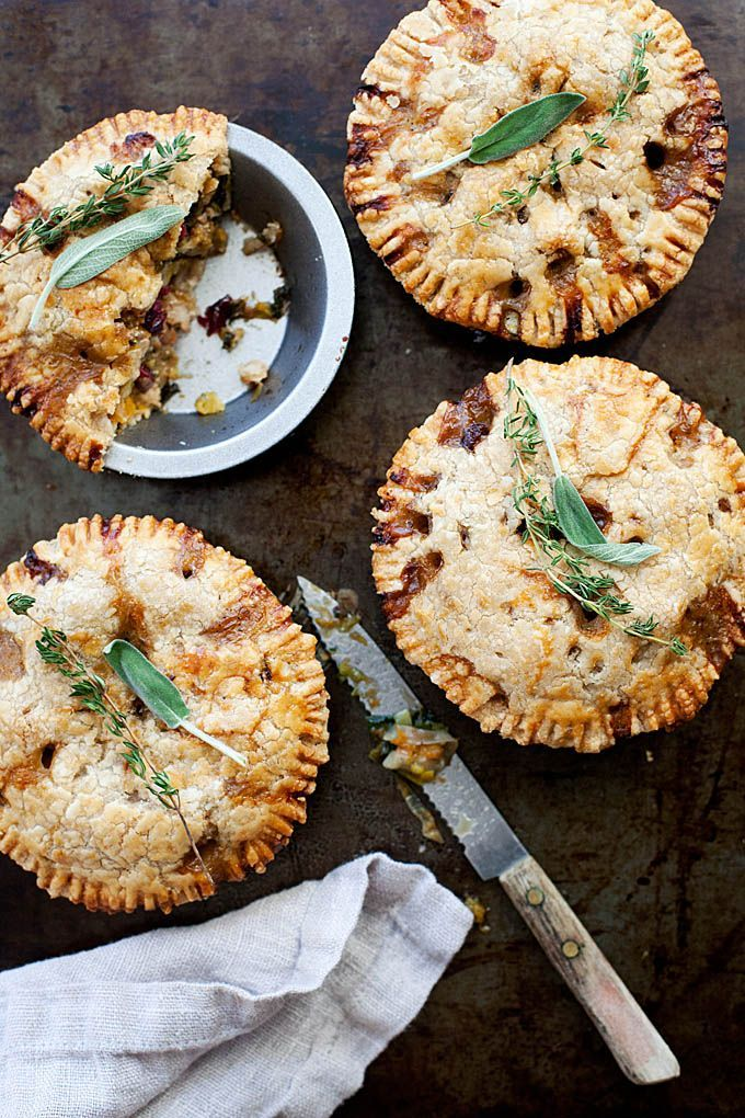 Butternut squash pot pie topped with flaky, (gluten-free, vegan) - crust two ways: vegan with chickpeas or non-vegan with chicken and bacon.