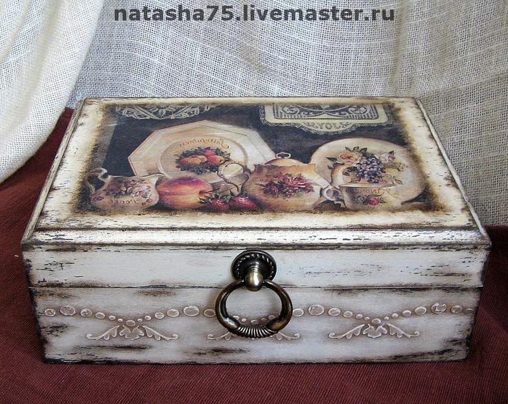 """1. Купить Чайная коробка """"Бабушкин сервиз"""" - чайная коробка, чайная шкатулка, коробка для чая, винтаж"""