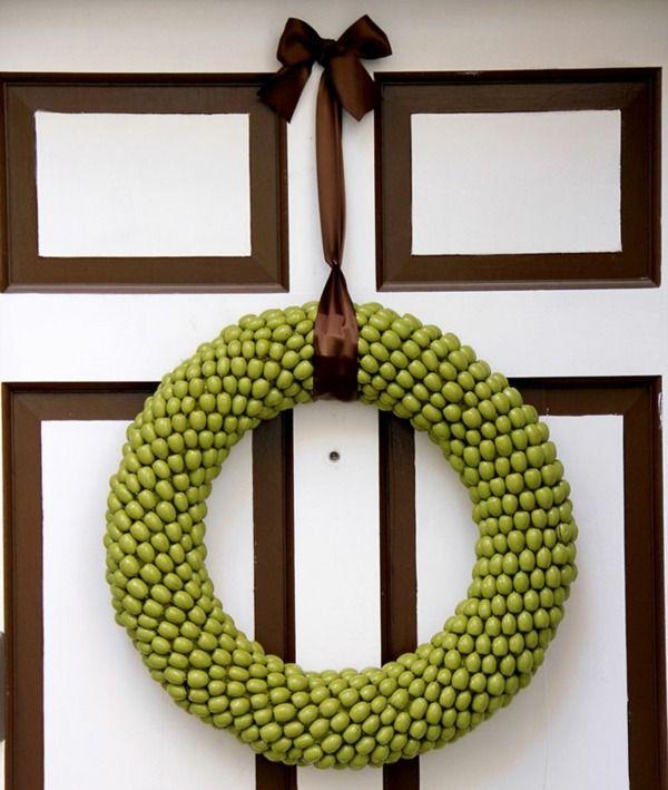 couronne de porte en glands couleur verte