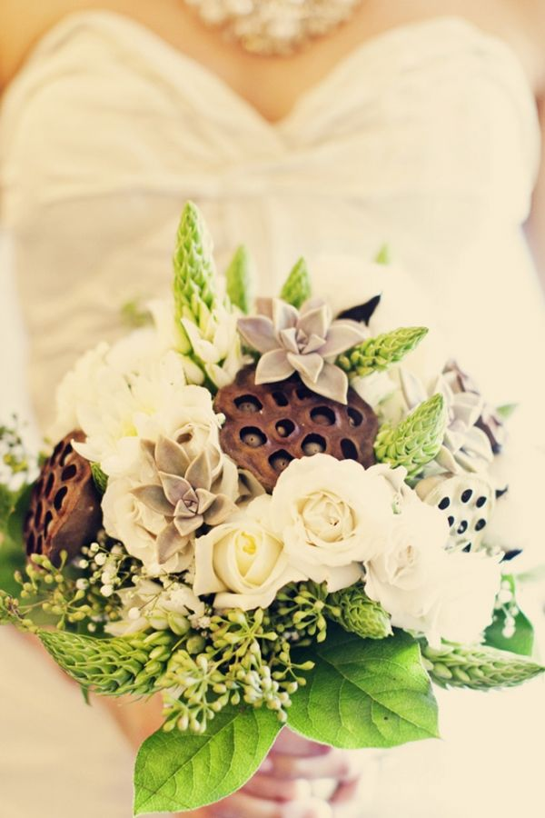 Bouquet With Roses, Succulents, And Lotus Seed Pods By Selena Bond Part 59