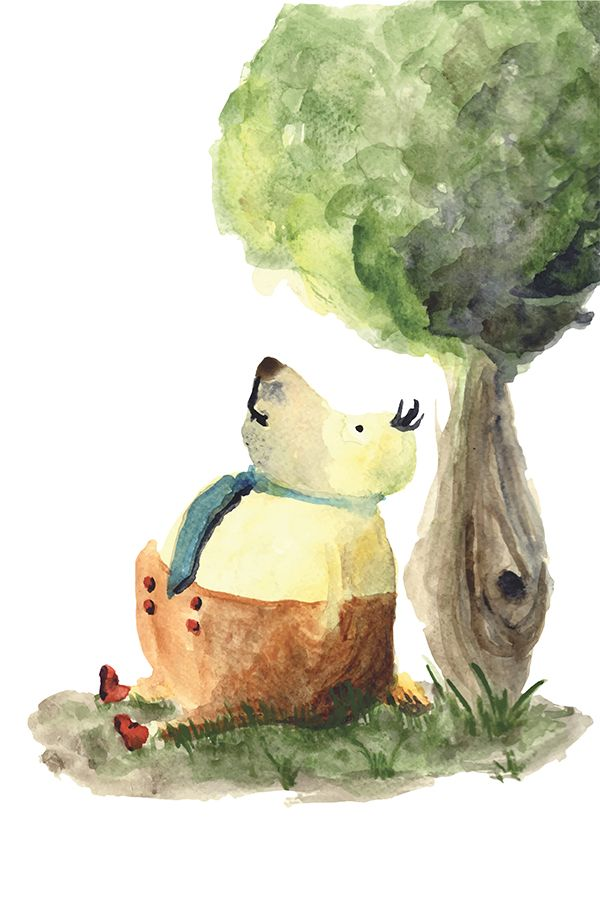 Cute bear under the tree, watercolor illustration, Kids Poster, Printable kids gift. Find more on etsy.com | This is a digital file, ready for instant download. You will receive a high resolution JPG files of the following sizes: 5x7 inches, 8x10 inches, 11x14 inches