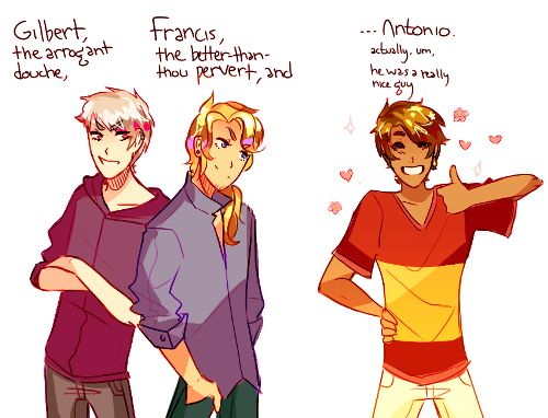 i love it in high school au fanfics when the bad touch trio are portrayed as a group of bullies featuring spain being too hard to villainize properly it's just really cute /)v(