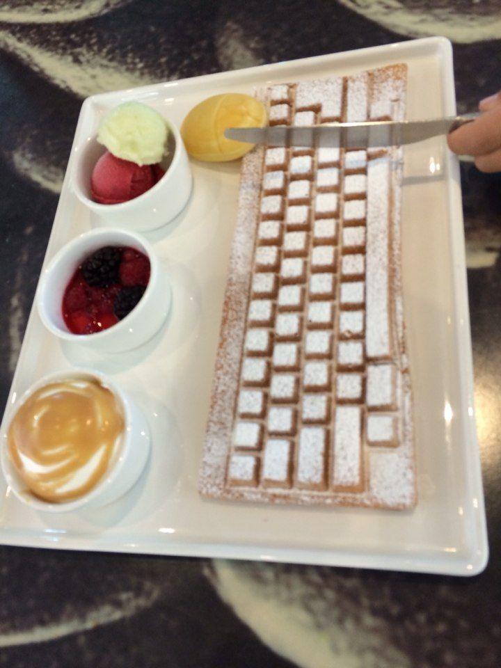 keyboard waffle!!! and mini 'mouse' bread.  @Alberto Toro computer museum, Jeju, South Korea