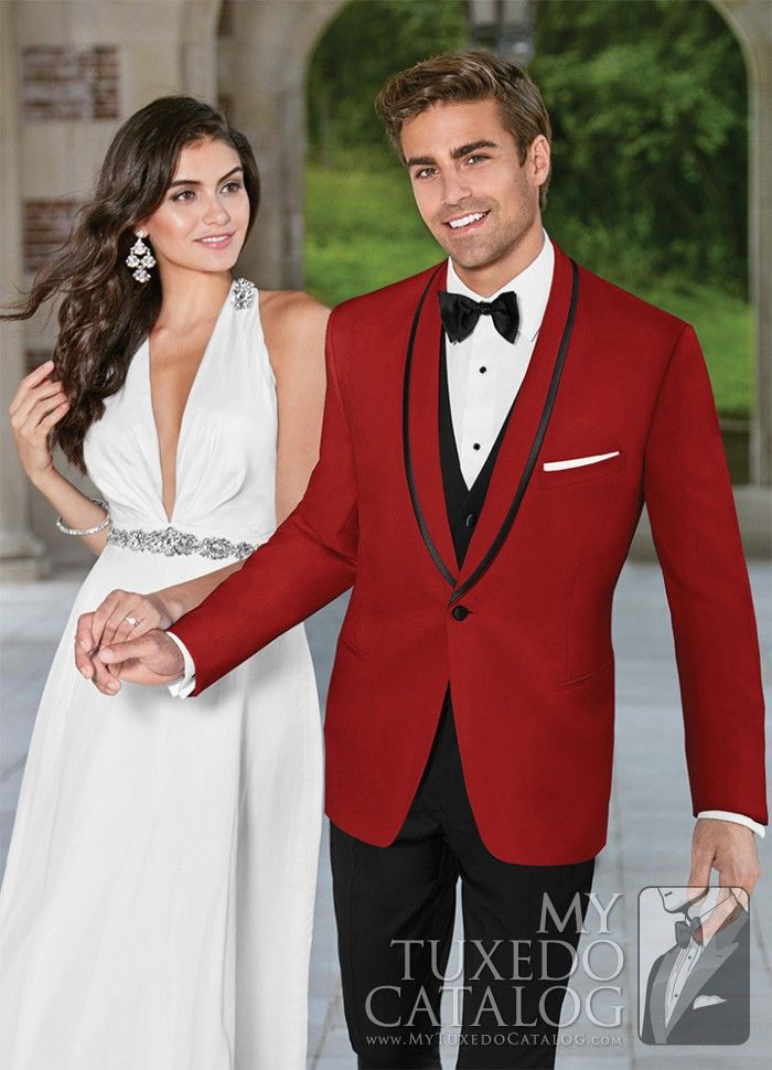 """<h5 style=""""text-align: center;"""">New for Spring 2016</h5> <h5 style=""""text-align: center;"""">Available Now!</h5> It's hard to be missed when you're wearing a red tuxedo! The 'Carmine' features a one button front with a shawl collar and is slim cut for a closer, more exacting fit. This tuxedo is a sure bet for garnering wanted attention at any prom or special event."""