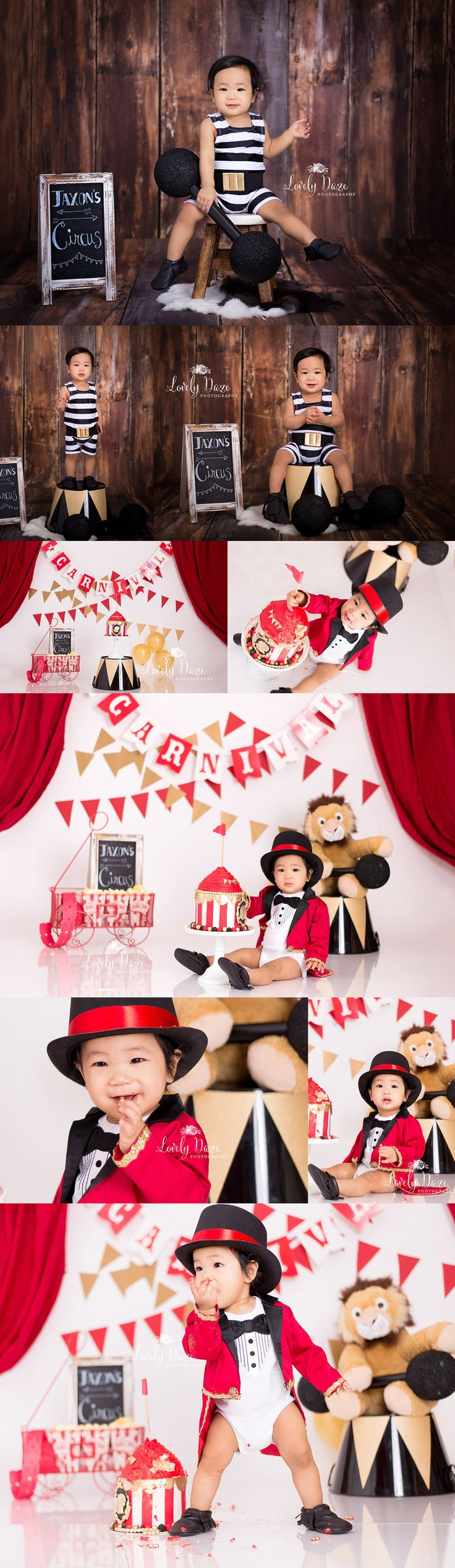 It's always a great day when I get to see my newborn clients come in for  their first birthday sessions. Jaxon was a delight even when he came in  just days old , he always does amazing in front of the camera , and he did  not disappoint for this super cute Circus themed cake smash . This gorgeou