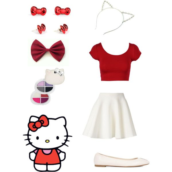 Halloween costume: Hello Kitty by otakugurl77 on Polyvore featuring MSGM, Alexander McQueen and Hello Kitty