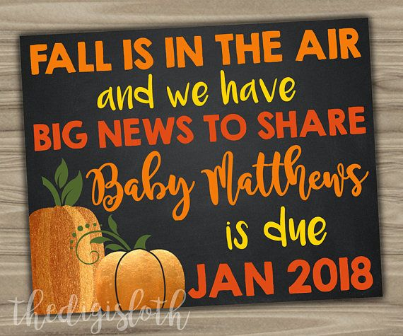 PREGNANCY ANNOUNCEMENT SIGN / FALL BABY REVEAL / FALL IS IN THE AIR AND WE HAVE BIG NEWS TO SHARE / BABY DUE DATE REVEAL / THANKSGIVING PREGNANCY ANNOUNCEMENT / GRANDPARENT AUNT UNCLE / WE'RE EXPECTING