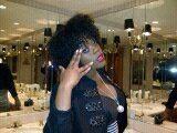 8 inches  Black curls Foxwoods bathroom