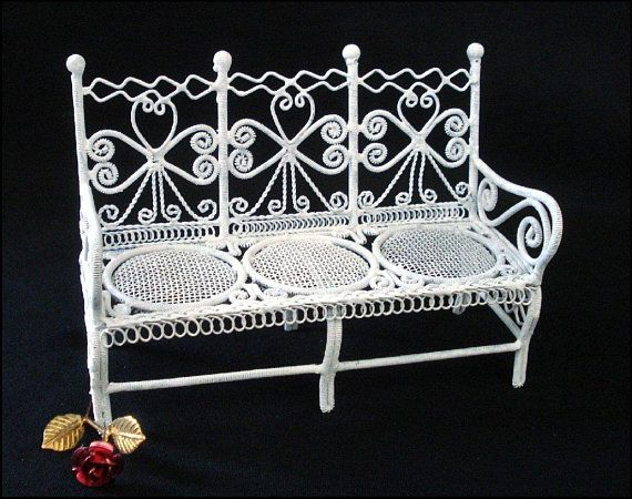 Dollhouse Size Bench Porch Lawn Patio Outdoor Furniture Rattan