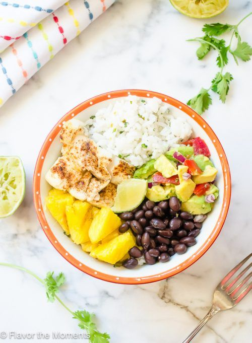Grilled Fish Taco Bowls with Cilantro Lime Rice and Grilled Pineapple