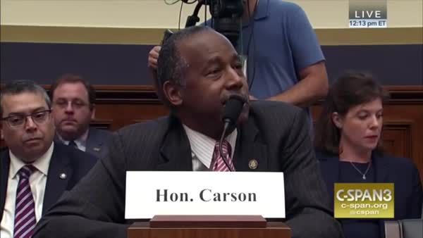 Rep. Al Green (D-TX) insists on questioning Housing Secretary Ben Carson on specific cuts to housing programs.  Carson doesn't want to give specific numbers.