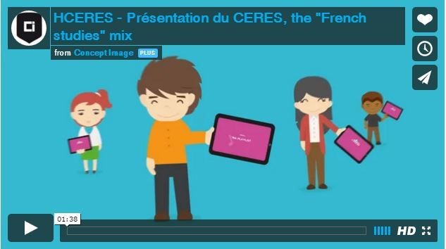 Cette vidéo en motion design présente le CERES, outil web en développement de classement et d'aide au choix d'un établissement d'enseignement supérieur en France. Concept Image Rhône-Alpes a proposé l'idée d'un étudiant qui réfléchit puis fait ses choix d'orientation comme il composerait sa « play-list » musicale.