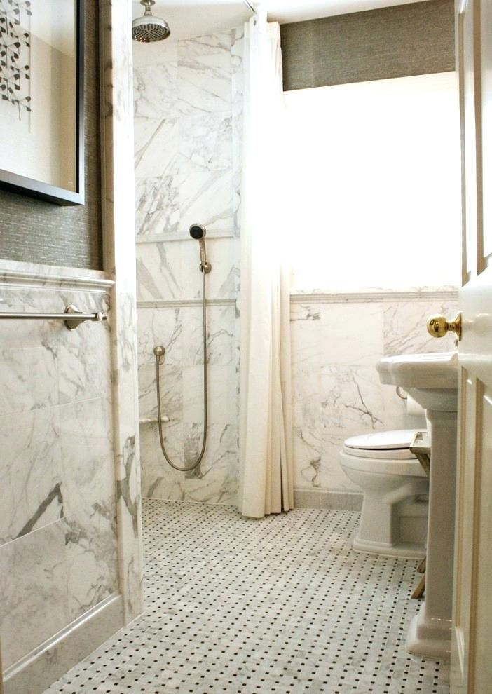 No Threshold Shower Same Layout As Your Bathroom Gray Wallpaper Bathroom Marble Bathroom Floor Wainscoting Bathroom