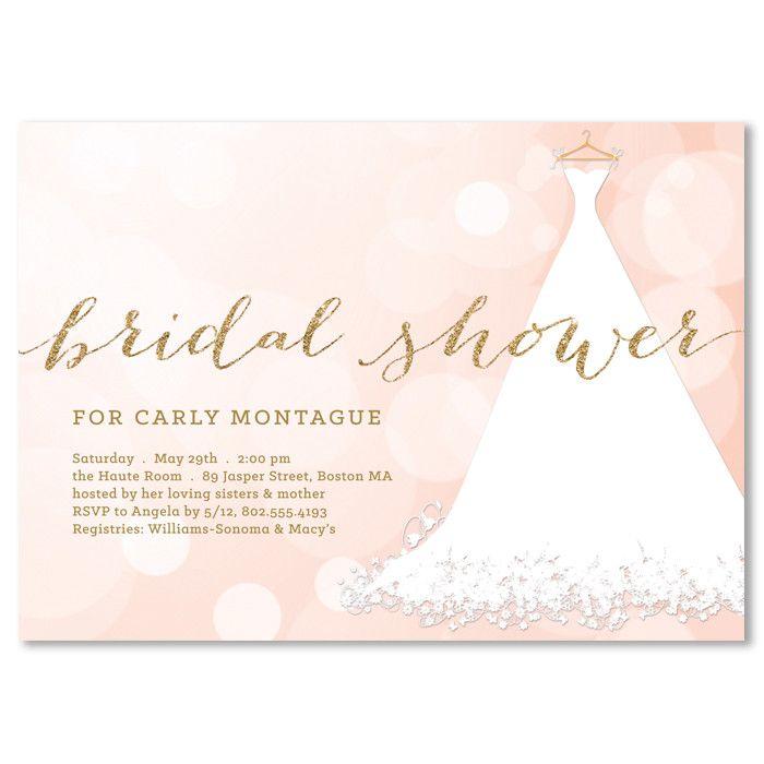 bridal shower invitations registry etiquette%0A   Carly   Pink Bokeh Bridal Shower Invitation