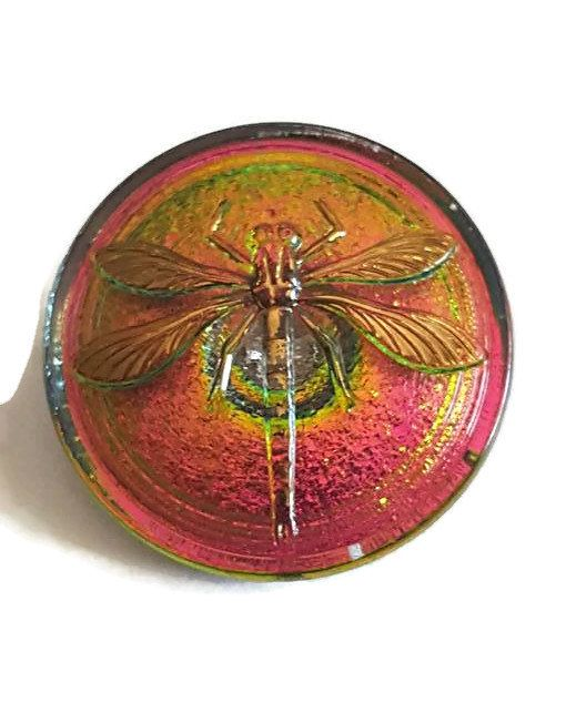 Czech Glass Button  30mm  Dragonfly Button  Focal by jodysbeads