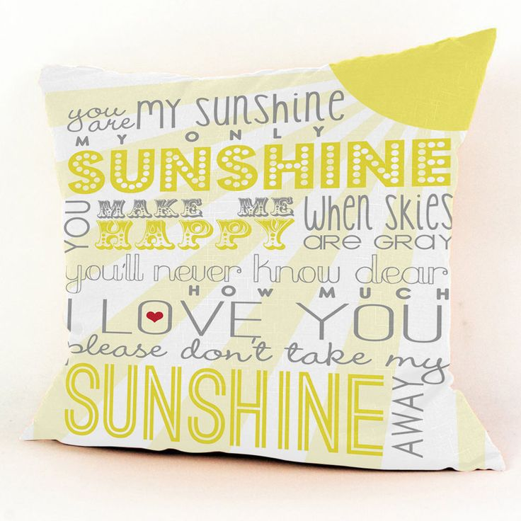 """Pillow Case on eBay 20.99 Only Free Shipping! You Are My Sunshine Quote Custom Square Pillow Case 18""""x18"""" (one side)"""