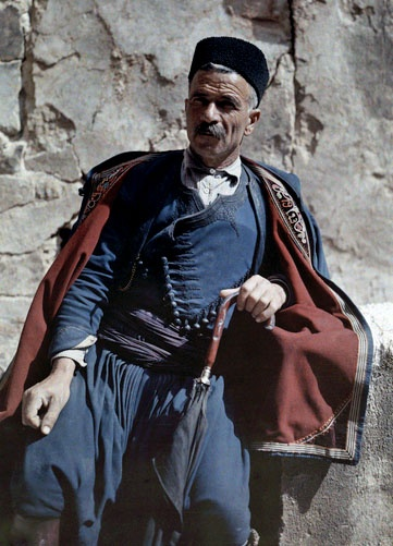 A man poses in the national costume of Crete - Greece in colour, 1920's; Images by Maynard Owen Williams / Wilhelm Tobien Source: National Geographic Stock