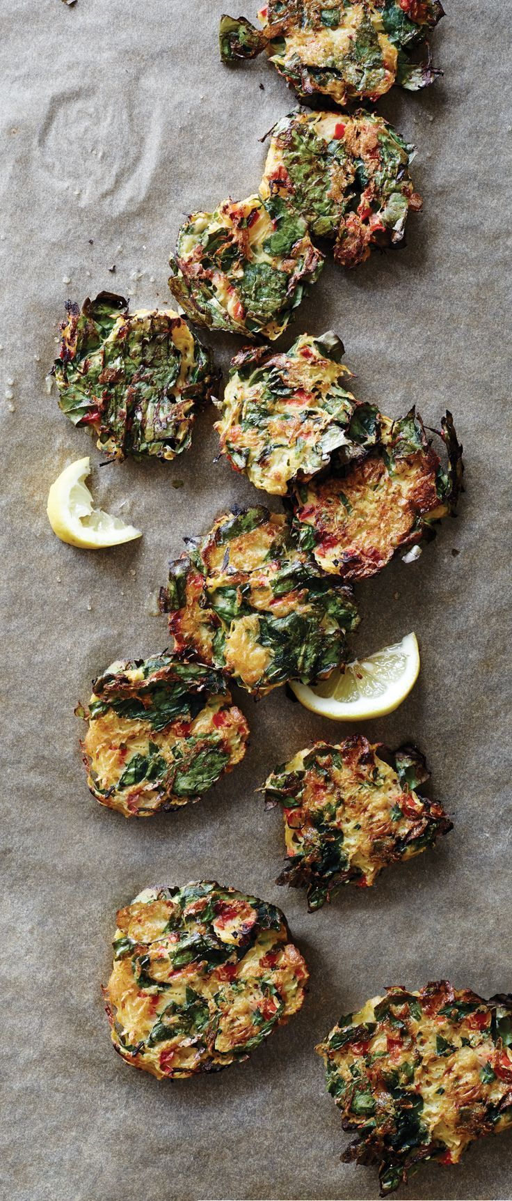 A lightly spicy combination of spinach and spaghetti squash is shaped into crisp oven-baked fritters.