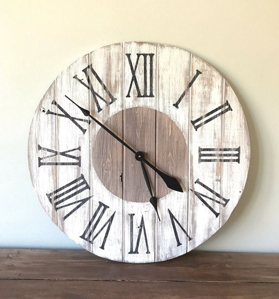 Hey, I found this really awesome Etsy listing at https://www.etsy.com/listing/483689627/rustic-farmhouse-wall-clock