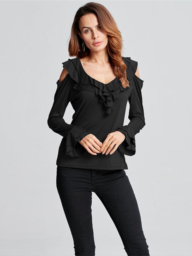 Elegant Women Off Shoulder Ruffles Pure Color Long Sleeve T-shirts at Banggood
