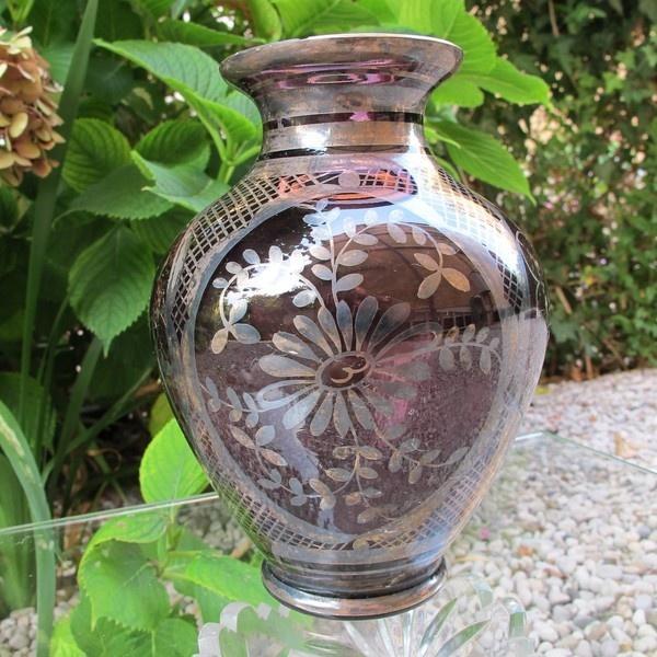 Antique Venetian Violet Glass Vase With Silver Leaf Decoration