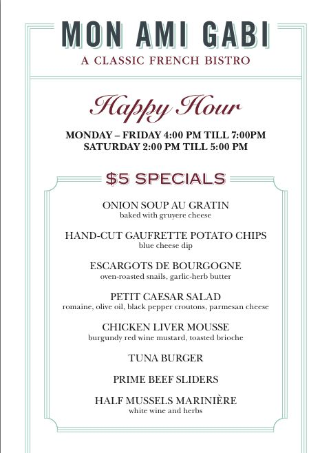Order away...Happy Hour specials at Mon Ami Gabi in Reston Town Center are only $5 from 4-7 M-F and 2-5 Saturday!