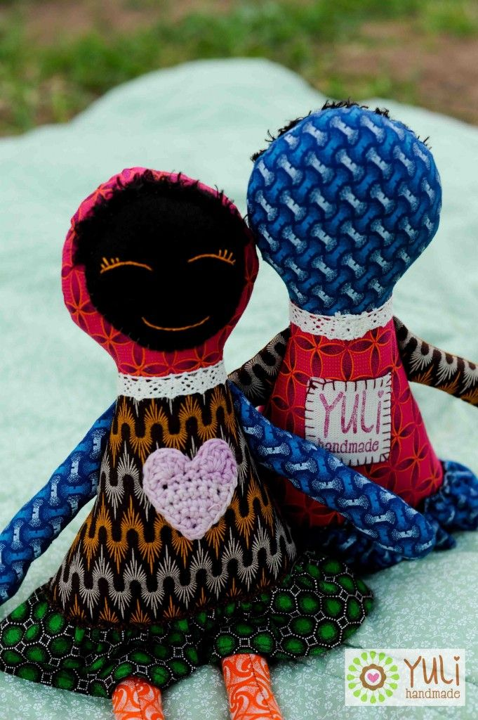 Laska Dolls made with local South African Shwe Shwe fabric.